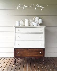 Check out this cute dipped number by Ferpie & Fray. Painted in Antique White Milk Paint Dipped Furniture, Paint Furniture, Furniture Projects, Furniture Makeover, Home Furniture, Refinished Furniture, Furniture Refinishing, Furniture Restoration, Furniture Inspiration
