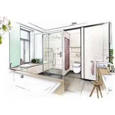 Interior design drawing: bathroom conception for splash magazine Interior Design Renderings, Drawing Interior, Interior Rendering, Interior Sketch, Interior Architecture, Interior And Exterior, Croquis Architecture, Interiores Design, Bathroom Interior