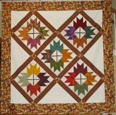 My first quilt design. Fall leaves on point