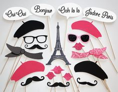 Have a Paris Photo Booth with these props....(minus the mustaches and lips if would be offensive or inappropriate by your standards)