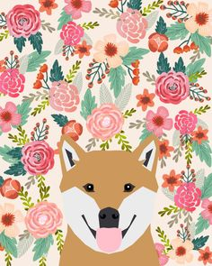 Shiba Inu florals spring summer bright girly hipster dog meme shiba ink puppy pet portraits Throw Blanket by petfriendly Portrait Wall, Pet Portraits, Shiba Inu, Akita, Happy Facts, Hipster Dog, Dog Memes, Pattern Wallpaper, Cute Wallpapers