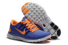 ff9cbb35f574e Hot Sale Nike Free Run 5.0 V2 Unisex Blue Orange Nike Free 5.0