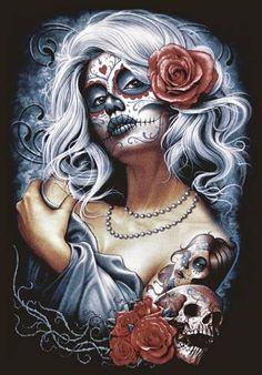 La Muerte Tattoo, Catrina Tattoo, Skull Girl Tattoo, Sugar Skull Tattoos, Dibujos Sugar Skull, Caveira Mexicana Tattoo, Los Muertos Tattoo, Sugar Skull Artwork, Sugar Skull Girl