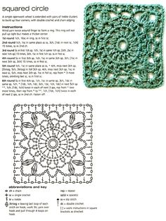 Squared Circle with instructions and diagram. Wonderful pattern for making an awesome granny square blanket, dress, top or just abut anything!