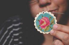 cross stitch pendant by Lisa | goodknits, via Flickr