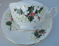 Beautiful tea cup christmas and saucer c Christmas Tea Party, Christmas China, Christmas Cup, Christmas Dishes, Holiday, Antique Tea Cups, Le Diner, Teapots And Cups, My Cup Of Tea