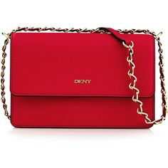 DKNY Bryant Park Saffiano Small Flap Cross Body Bag Red ($190) ❤ liked on Polyvore featuring bags, handbags, shoulder bags, crossbody flap purse, dkny shoulder bag, flap handbags, dkny crossbody and dkny
