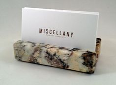 Business Card Holder - Multicolor Granite - Office Desk Home, Recycled Granite, Recycled Stone