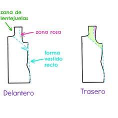 DIY: cómo modificar un patrón base para conseguir un vestido recto con apliques en los hombros.