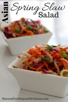This Asian spring slaw salad is a great way to get different flavors into your menu AND multiple veggies onto your plate.