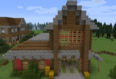Horse Stable 1 - GrabCraft - Your number one source for MineCraft buildings, blueprints, tips, ideas, floorplans! Minecraft House Tutorials, Minecraft Houses Blueprints, Minecraft House Designs, Minecraft Creations, House Blueprints, Minecraft Buildings, Minecraft Horse Stables, Minecraft Barn, Cool Minecraft