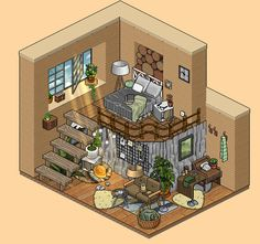 Isometric Art, Isometric Design, Habbo Hotel, Cozy Dorm Room, Modern Apartment Design, Pixel Art Games, Minecraft Designs, Cute House, Forest House