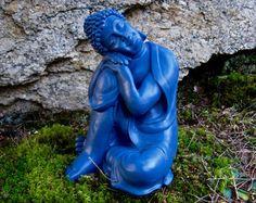 Items similar to White Laughing buddha statue, buddha figure ...