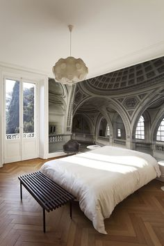 What a mural, looks so real !Ogive Arches Mural (also, furniture & fashion) Wall Wallpaper, Wallpaper Ideas, Photo Wallpaper, Bedroom Wallpaper, Interiores Design, Interior And Exterior, Sweet Home, New Homes, House Design