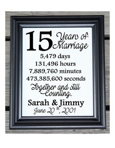 15th Wedding Anniversary Cotton Print 15th by CottonCelebrations