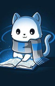 Harry Potter Cat, Harry Potter Drawings, Cute Animal Drawings, Kawaii Drawings, Ravenclaw, Images Kawaii, Arte Do Kawaii, Desenhos Harry Potter, Harry Potter Wallpaper