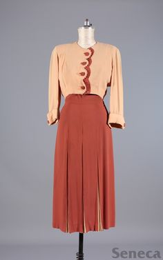 two-tone 1940s dress and jacket