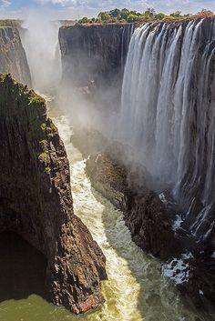 Victoria Falls and the Zambezi River viewed from Zambia ~ UNESCO World Heritage Site