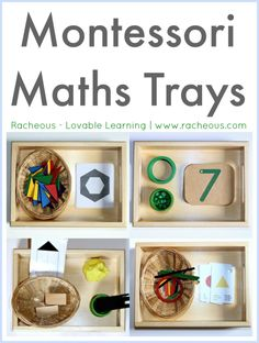 "Montessori Maths Trays Racheous - Lovable Learning ""The beautiful, high quality, perfect-for-small-hands tray featured throughout this post is from Montessori Child size) in Australia. Montessori Trays, Montessori Homeschool, Montessori Classroom, Montessori Toddler, Montessori Activities, Preschool Activities, Montessori Elementary, Homeschooling, Elementary Teaching"