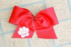 Cheer Bow. Visit www.facebook.com/PrincessWiggleBottom to view more!