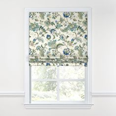 The goddess of roman shades, the Tulip Roman Shade with it's signature inverted pleats makes an elegant statement on a classic window. We love it in this sophisticated Jacobean floral in bright classic shades of blue. Fabric Roman Shades, Custom Roman Shades, Hollywood Regency, Relaxed Roman Shade, Bathroom Window Treatments, Classic Window, Blinds Design, Light Blue Flowers, Curtains With Blinds