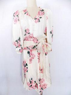 Richard Warren Dress Sz M Silk Floral Huge Bow Vintage 80s Pleated Sheer Ruched #RichardWarren #SkirtSuit #Cocktail