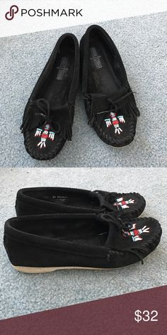 Minnetonka Moccasins Black with beading. Minnetonka Shoes
