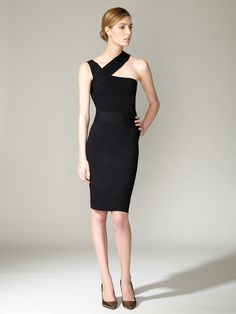 Silk Asymmetrical Ribbed Dress by Narciso Rodriguez on Gilt.com