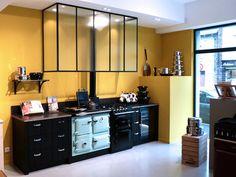 Ateliers Malegol, 230 rue St Malo à Rennes - AGA Rayburn + module Companion, hotte verrière esprit atelier, (Design Ateliers Malegol - Mathieu Le Guern)