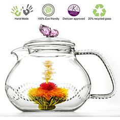 Pink Blooming Tea Glass Teapot Butterfly, 24Oz/710Ml Non-Drip With Infuser, 2015 Amazon Top Rated Beverage Serveware #Kitchen