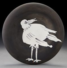 "black and white - bird - plate -  ceramic - Pablo Picasso -  ""Bird no. 93"" ceramic plate,, Lot Number: 0006, Starting Bid: $1,000, Auctioneer: Dallas Auction Gallery, Auction: Modern & Contemporary Art"