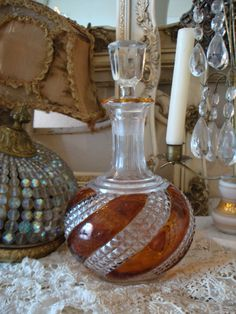 $175.00 Amber Cut Crystal Antique Decanter/Perfume Display-