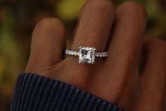 2.30 Carat Square SUPERNOVA Moissanite & Diamond Engagement Ring 14k, 18k or Platinum, 7.5mm Princess Moissanite Rings - Anniversary Gifts