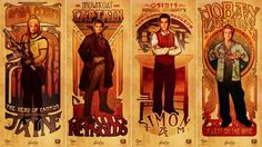 The men of Firefly in Art Nouveau.  Buy the posters here:  http://store.qmxonline.com/Firefly-Les-Hommes-Poster-Set_p_155.html