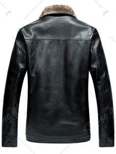 Faux Fur Collar Zip-Up PU Jacket