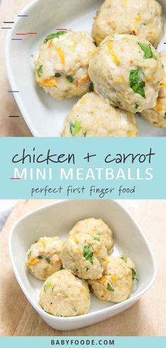 These mini chicken + carrot meatballs are a perfect first finger food for baby, but don't be surprised when the rest of the family starts popping them in their mouths as well! Filled with ground chicken, carrots, spinach and applesauce - these mini meatba Mini Meatballs, Chicken Meatballs, Healthy Chicken Recipes, Baby Food Recipes, Chicken Recipes For Babies, Baby Food Chicken, Family Recipes, Finger Food Recipes, Healthy Meals