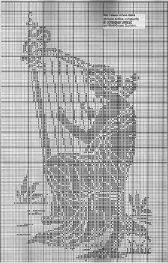 0 point de croix monochrome femme avec harpe - cross stitch woman with harp