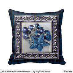 Celtic Blue Holiday Ornaments Tartan Throw Pillow