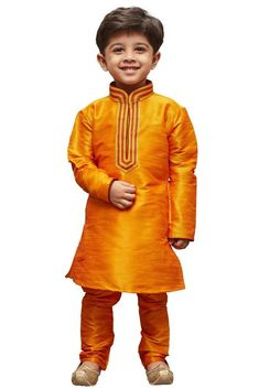 a4040548b Vastramay Boy s Cotton Silk Embroidered Kurta and Pyjama Set in Orange
