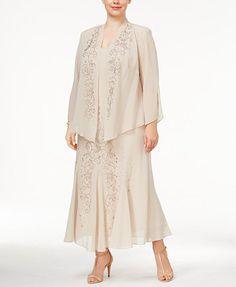 R&M Richards Plus Size Beaded V-Neck Dress and Jacket | macys.com