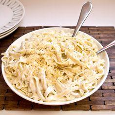 Healthy Yogurt Fettuccine Alfredo |   1 pound fettuccine noodles  1 small garlic clove, chopped  1 cup plain yogurt (or Greek?)  1 tablespoon butter  1/2 teaspoon salt  1/4 teaspoon Italian seasoning  1/2 cup grated parmesan cheese  Dash of pepper  Dash of nutmeg