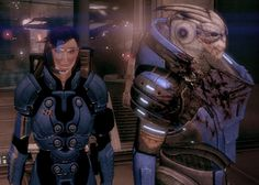 My in-game Mass Effect 2 Garrus and Female Shepard (Femshep) in Omega by dinglouisa