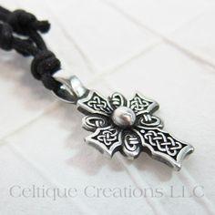 Celtic Knotwork Cross Necklace Adjustable Fine Pewter #celtic #celticknot #knotwork #celticcross #celticnecklace #celticjewelry #celtiquecreations