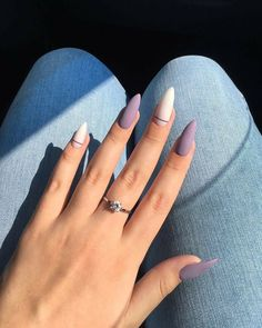Want some ideas for wedding nail polish designs? This article is a collection of our favorite nail polish designs for your special day. Read for inspiration Purple Nails, Matte Nails, Glitter Nails, Pointy Nails, Hair And Nails, My Nails, Neon Nails, Cute Nail Colors, Summer Gel Nails