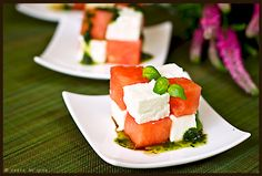 Watermelon and feta puzzles - Gourmantine