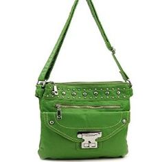 Lime Green Stone Washed Messenger Purse IN STOCK:  $36.00