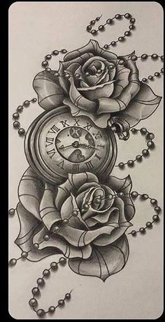 Skull Rose Tattoos, Key Tattoos, Watch Tattoos, Badass Tattoos, Time Tattoos, Forearm Tattoos, Unique Tattoos, Flower Tattoos, Body Art Tattoos