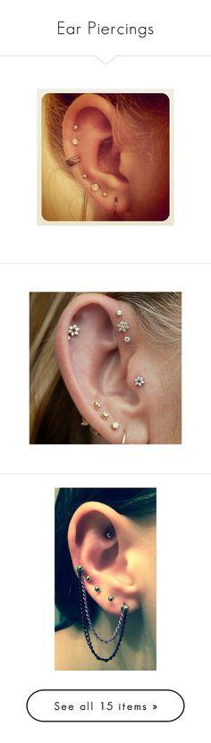 """""""Ear Piercings"""" by dark-emo-kitty ❤ liked on Polyvore featuring jewelry, earrings, piercings, earring ear cuff, white jewelry, earring jewelry, white earrings, ear cuff jewelry, accessories and ear piercing"""