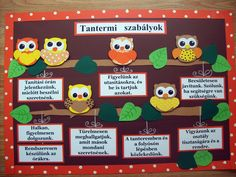 Pin By Zsuzska On Suli School Classroom Decor And Preschool Classroom Rules, Birthday Chart Classroom, Owl Classroom Decor, Fall Classroom Door, Kindergarten Games, Middle School Classroom, Classroom Walls, Owl Door Decorations, Class Birthdays