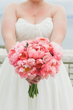 Rancho Palos Verdes Wedding from Sweet Emilia Jane + OneLove Photo Peach Peonies, Peonies Bouquet, Flower Bouquets, Pink Roses, Guava Wedding, Perfect Wedding, Dream Wedding, Wedding Things, Wedding Flower Design